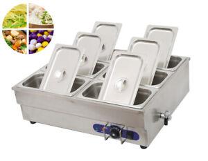 TECHTONGDA 110V 6*1/3 pan Bain-Marie Buffet Food Warmer Stainless Steel