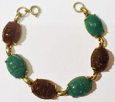 bracelet bijou vintage cabochon porte bonheur scarabé couleur couleur or *3987