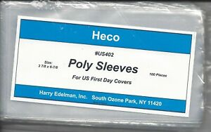 """HECO #402 3-mil U.S. First Day Cover Poly Sleeves 3-7/8"""" x 6-7/8"""" Package of 100"""