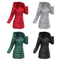 Padded Parka Zip Up Faux Ladies Puffer Coat Long Winter Womens Fur Hooded Jacket