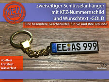 Zweiseitiger Schlüsselanhänger mit Wunschtext, Geschenkidee, KFZ, GOLD