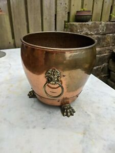 Vintage Copper Planter Tub Plant pot log ice bucket brass lions heads claw feet