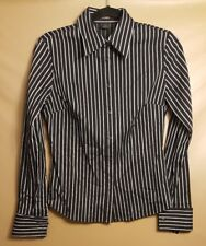 EXPRESS Striped Black W/White and Pink Button Down Size 6 Top Women's