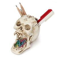 Skull Makeup Brush Holder Human Skull Pen Holder Makeup Organizer Halloween