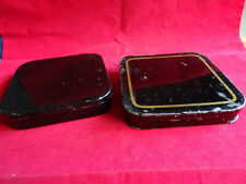 A PAIR OF FINE VINTAGE BLACK JAPANNED SQUARE FISHING CAST TINS