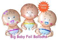 Big Baby Girl Boy Foil Balloon Shower Gender Reveal Yellow Pink Blue Balloons