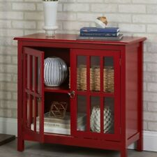 Country Style Glass Door Storage Display Cabinet Hutch in Red Finish