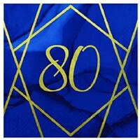 16 x Navy /& Gold Geode 80 Foil Napkins 33cm 3ply Ladies 80th Party Tableware