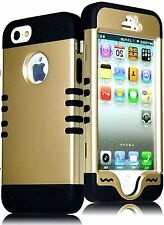 For iPhone SE 5S HARD & SOFT RUBBER HYBRID IMPACT CASE COVER GOLD / BLACK ARMOR
