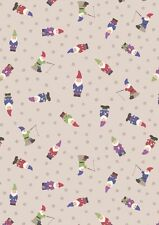 Fat Quarter Garden Gnomes Natural Grandma's Garden 100% Cotton Quilting Fabric