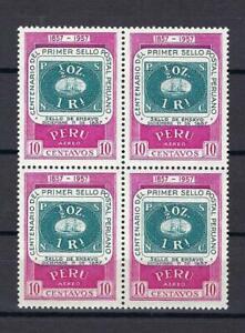 Peru 1957 Sc# C132 Airmail Stamp of 1857 Ship block 4 MNH