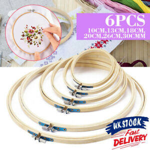 """1/3/6Pcs Wooden Bamboo Hand Embroidery Cross Stitch Ring Hoop Frames 3"""" to 12"""""""