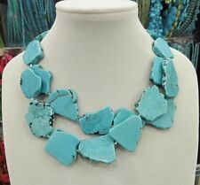 New Arrive Turquoise Slice Stone Choker Necklace Handmade Woman Gift