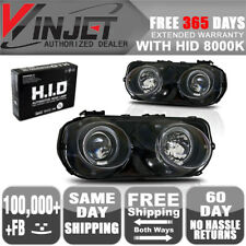 Fit 94-97 Integra Halo Projector Head Lights Lamps Black Clear + 8K Xenon HID