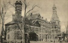 Thomaston CT Fire Dept & Town Hall Postcard