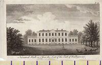 C1815 Antiguo Pequeño Georgiano Estampado Navestock Hall IN Essex ~ Asiento De