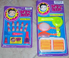Betty Boop Fancy Nails and Hair Dryer  Toy Sets Ja-Ru Mint on Card Rare 1990