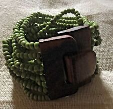 Hand Made Balinese Beaded Stretch Bracelet With Statement Wooden Clasp