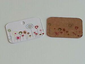Hoop & Dangle Earring Display Cards - Flowers Design - Kraft Brown or White