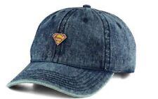 Superman Metal Pin Marvel Comics Adjustable Strapback Denim Dad Hat Cap
