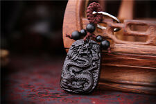 Black Wood Carving Chinese Dragon Statue Sculpture Pendant Key Chain
