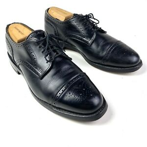 Allen Edmonds Lexington Black Leather Wingtip Cap Toe Brouge Derby Oxford Sz 9.5