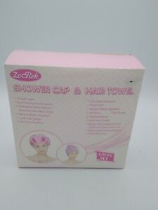 New Pink Absorbent Hair Towel & Double Layer Shower Cap 2 Pc SetGift Box Set New