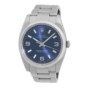 ROLEX 34mm Stainless Steel Oyster Perpetual Blue 114200  Box Warranty MINTY