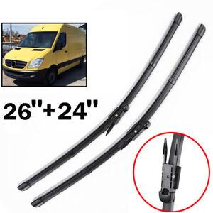 "Pair Windscreen Wiper Blades 26"" 24"" Fit For Mercedes-Benz Sprinter W906 2006 on"