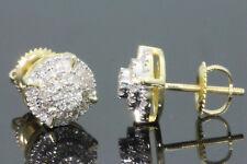 10K YELLOW GOLD .35 CARAT MENS WOMENS 8 mm 100% GENUINE DIAMONDS EARRING STUDS