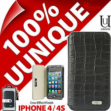 NUOVO Uunique London COCCODRILLO Folio Flip Case Cover per Apple iPhone 4 / 4S Guscio Duro