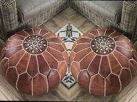 MOROCCAN POUF Leather Pouf Ottoman Pouffe footstools pouf ottoman Leather ottoma