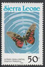 Sierra Leone 6803 - 1991 Schmetterlinge 50C Country in blau P14 nicht gefaßt