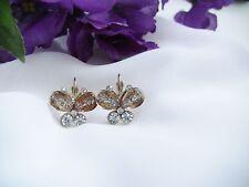 """Women's Pierced Earrings Butterflies Peach Colored Wings w Glitter 1/2"""" L Gift"""