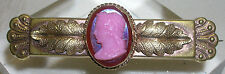 Collar Bar Pin Detailed gold Filled Vintage Cameo Brooch Pin Pink Red Ornate