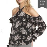 J.O.A Women's Black Floral Off The Shoulder Blouse Top Shirt, Size Small