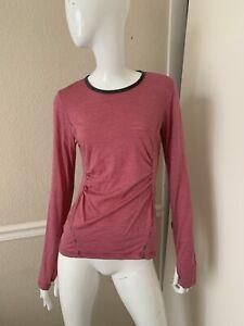 LOLE Pink/Raspberry Striped Merino Wool Stretch PONDER 2 Fitness Pullover M NWOT