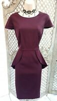 🌹PER UNA SIGNITURE🌹BURGUNDY PEPLUM SMART WIGGLE DRESS PARTY OFFICE CAREER 12