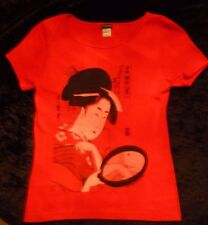 Vintage New.Fine Art.Ladies T-shirt.NEW.S,L,XL or XXL.MET.MoMA.Geisha.Japan.Red