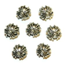 MB7263 Antiqued Silver Cross Embellished 8mm Flat Round Metal Bead 20pc