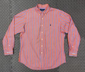 RALPH LAUREN Long Sleeve Buttoned Shirt Orange Striped 16 1/2  34/35 Custom Fit