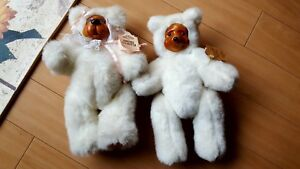 2 White vintage 1989 Robert Raikes Bears Sophie and Terry with Tags