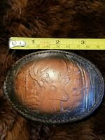 western belt buckle vintage Leather Tooled BUCK deer hunting