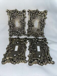 Vintage Amertac Antique Brass Wall Light Switch Cover Plate Roses Floral 60T (4)