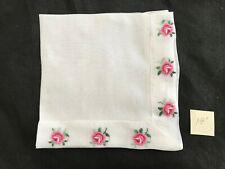 "red pink roses embroidered edges deep hem LINEN handkerchief hankie14"" laundered"