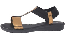 Munro Ideal Womens Gold Black T Strap Sandal Sz 8.5 W 3349