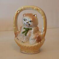 Vintage Ceramic Cat/Kitten in Basket Green Eyes and Bow – Made in Brasil