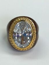 925 Sterling Silver Statement Gold Tone Ring With Oval Topaz Stone Size 7