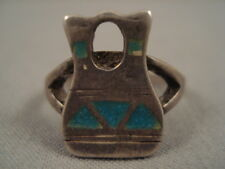 VERY UNIQUE VINTAGE NAVAJO TURQUOISE SILVER POT RING OLD