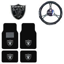 New NFL Oakland Raiders Car Truck Floor Mats Steering Wheel Cover & Emblem